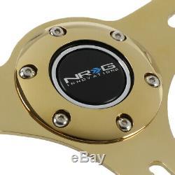 Nrg St-015cg-wt 350mm Chrome Gold 3-spoke White Wood Grain Grip Steering Wheel