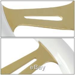Nrg St-015cg-wt 350mm Chrome Gold Spokes White Wood Grain Grip Steering Wheel