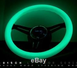 Nrg Steering Wheel 350mm Glow Dark White Wood Grain Neo Chrome Spoke St-015mc-gl