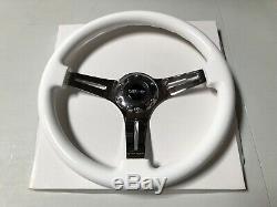 Nrg Woodgrain Steering Wheel Gloss White Chrome 3 Spoke Face 350mm