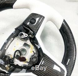Oem Tesla Model 3 Chrome Bang / White Carbon Fiber Performance Steering Wheel