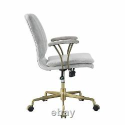Office Chair, Vintage White Top Grain Leather & Chrome