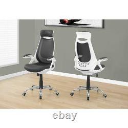 Office Chair White / Grey Mesh / Chrome High-back Exec