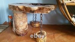 Original oak handmade table and coffee table