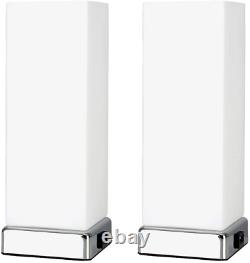 Pair of Modern Chrome & White Frosted Glass Bedside Touch Table Lamps with USB