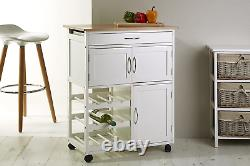 Premier Housewares Kitchen Trolley with Bamboo Top 84 x 67 x 37 cm, White