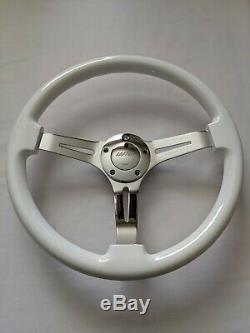 Raptor 15 Chrome 3-spoke White Wood Grain Steering Wheel