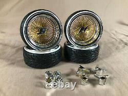 Rc Lowrider gold chrome spoke dayton 1/10 Scale deep dish wire wheels white wall