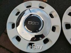 Retro Fiat 500 14inch Colour Therapy Wheel Trims White And Chrome X4