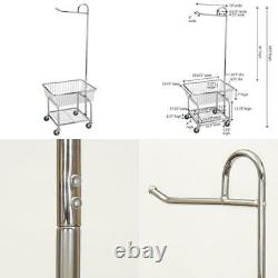 Rolling Laundry Cart Basket Butler Chrome Compact Clothes Rack Home Storage NEW
