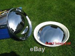 SET OF 4 x 12 INCH CHROME-WHITE WHEEL TRIMS FULL COVER HUB CAPS 12 Baby Moon