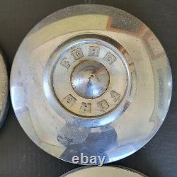 Set Of 4 1955 1956 Ford Dog Dish Wheel Cover Hub Cap Hubcap Wheel Chrome White