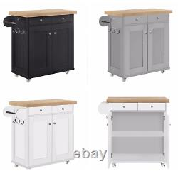 Solid Chunky Portable Kitchen Storage Island Unit with Wheels Grey Black White