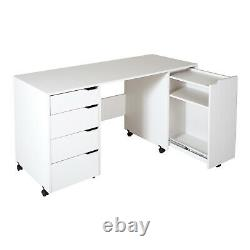 South Shore Crea Sewing Craft Table on Wheels Pure White