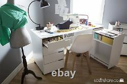 South Shore Crea Sewing Craft Table on Wheels in Pure White Finish, 7550728 New
