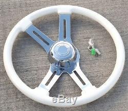 Steering Wheel 4 Spoke withSlots Classic White 18 Wood Rim Chrome Bezel 3 Hole