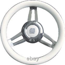 Uflex Morosini U/CH/W Steering Wheel 13.8 White Poly Chrome Hub 3/4 Shaft Boat