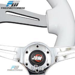 Universal 350MM JDM White Classic Wood Chrome Polish Spokes Steering Wheel