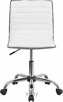 Vanity Chair With Back Rolling Makeup Seat Stool Wheels For Dressing White NEW