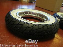 Vespa Px 125 Chrome Tubeless Split Wheel Rim And Tyre Set Pair White Wall