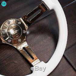 Viilante 2 Deep 6-hole Slotted Gold Chrome Gloss White Steering Wheel Fits Nrg