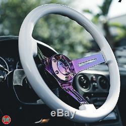 Viilante 2 Dish 6-holes Steering Wheel White Neo Chrome Wood Grain Fits Nrg Hub