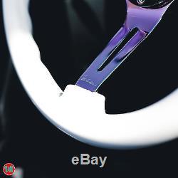 Viilante 2 Dish 6-holes Steering Wheel White Neo-chrome Wood Grain Fits Momo