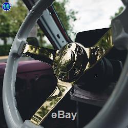 Viilante 3 Deep 6-hole Glossy White Steering Wheel Gold Chrome Spoke Fits Nrg