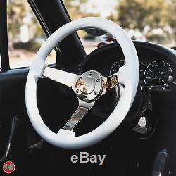 Viilante 3 Deep 6-hole White Steering Wheel Gold Chrome Spoke Fits Chevy Cruz
