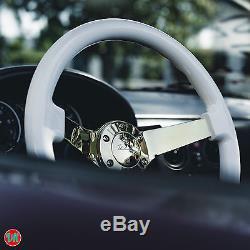 Viilante 3 Deep 6-hole White Steering Wheel Gold Chrome Spoke Fits Pt Cruiser