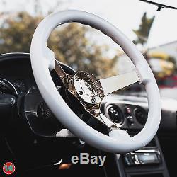 Viilante 3 Deep 6-hole White Steering Wheel Gold Chrome Spoke Fits Scion Frs
