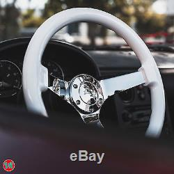 Viilante 3 Deep 6-hole White Steering Wheel Mirror Chrome Spoke Honda CIVIC