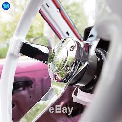Viilante 3 Deep Dish 6-hole White Steering Wheel Chrome Spoke Wood Fits Nrg Hub