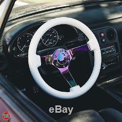 Viilante 3 Deep Dish 6-holes Steering Wheel White Neo Chrome Spoke Wood Grain