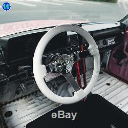 Viilante 3 Dish 6-hole White Steering Wheel Chrome Spoke Mitsubishi Evo 7 8 9