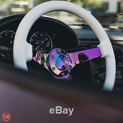 Viilante 3 Dish 6-holes Steering Wheel White Neo Chrome Wood Grain Fits Nrg