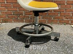 Vintage Clarin Industrial Fiberglass Swivel Chair Chrome Base with Wheels 1960s