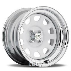 Wheel Drift Daytona Steel Chrome/Gloss White 16x10 4x4.50 BC 5.50 Backspace