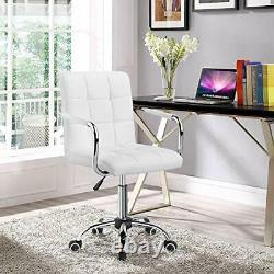 White Cute Modern Leather Office Computer Comfy Rolling Desk Chair with Wheels