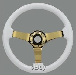 White Gold Chrome 14inch Steering Wheel Drift Rally Dish