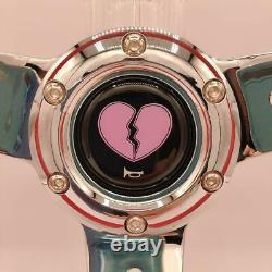White Heart Steering Wheel Pitiable Chrome Rare / List No. 164