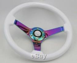 White Neo Chrome 14inch Steering Wheel Drift Rally Dish