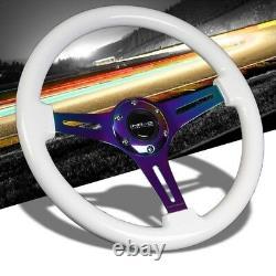 White Wood/Neo Chrome Slit Holes 2 Deep ST-015MC-WT NRG Wheel+Horn+FD-06 Mirror