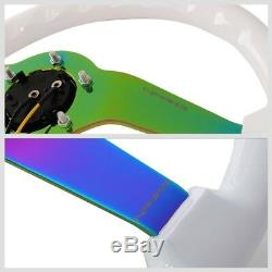 White Wood/Neo Chrome Spoke 3 Deep RST-036WT-MC NRG Wheel+Horn+3R-056 Mirror