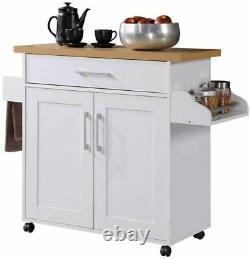White Wooden Kitchen Island Wheels Cart with Spice/Towel Rack/Drawer/Shelf Cabinet