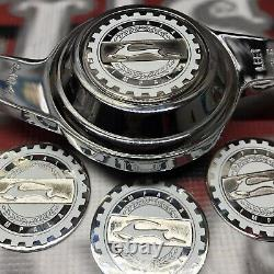 White and Chrome Impala Zenith Wire Wheel 2.25 Metal Chip Emblems Qty 4 New