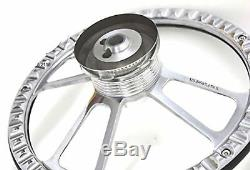 White and Chrome Steering Wheel + Install Kit for GM and GM-style Columns