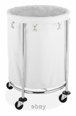 Whitmor Round Commercial Hamper with Wheels White & Chrome