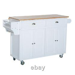 Wood Top Drop Leaf Kitchen Rolling Island Cart Table Cart on Wheels White